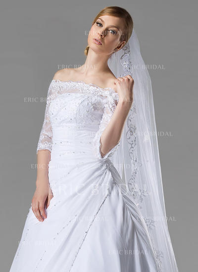 Cathedral Bridal Veils Tulle One-tier Oval/Drop Veil With Lace Applique Edge Wedding Veils (006150869)