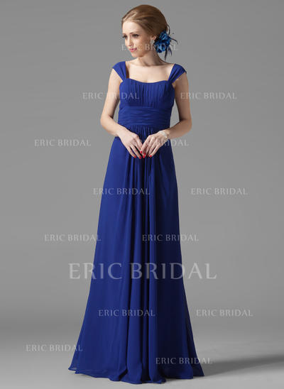 A-Line/Princess Chiffon Bridesmaid Dresses Ruffle Scoop Neck Sleeveless Floor-Length (007013956)