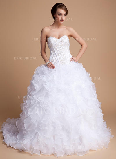 Ball-Gown Sweetheart Chapel Train Wedding Dresses With Beading Sequins Cascading Ruffles (002211302)
