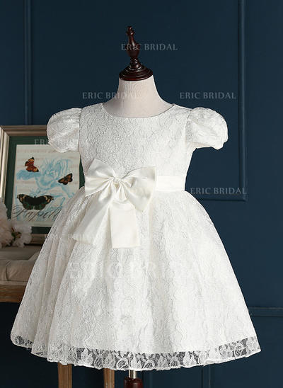 A-Line/Princess Jewel Short/Mini With Bow(s) Lace Flower Girl Dresses (010211622)