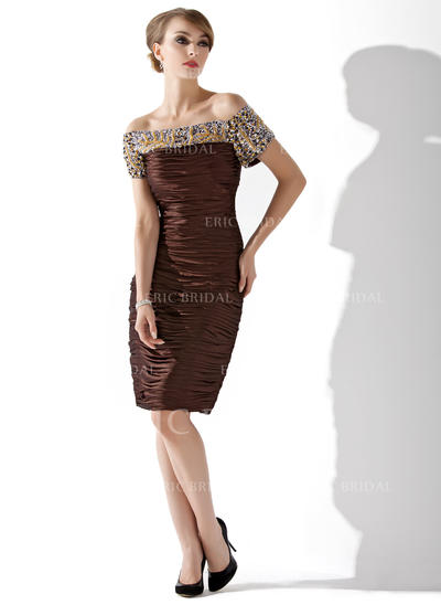 Sheath/Column Charmeuse Short Sleeves Off-the-Shoulder Knee-Length Zipper Up Mother of the Bride Dresses (008005919)