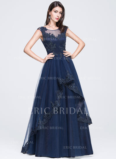 A-Line/Princess Tulle Prom Dresses Beading Appliques Lace Sequins Scoop Neck Sleeveless Floor-Length (018210657)