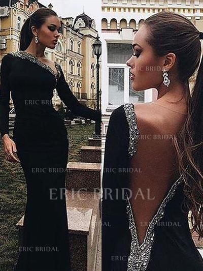 Trumpet/Mermaid V-neck Sweep Train Evening Dresses With Beading (017196698)