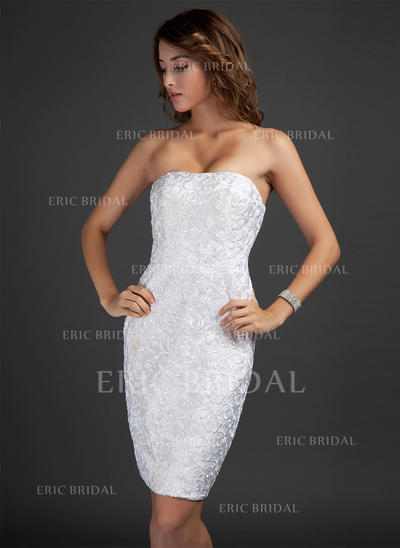 Sheath/Column Strapless Knee-Length Lace Cocktail Dresses (016015346)