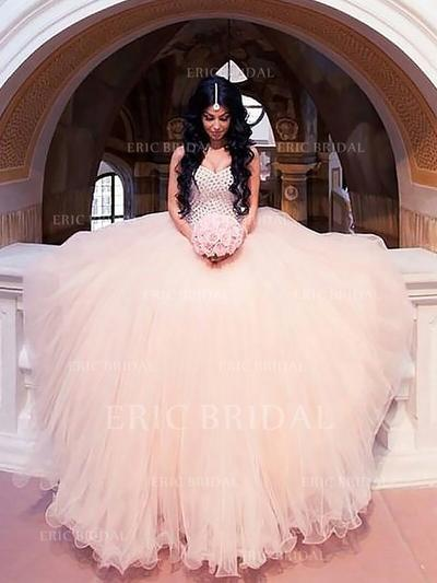 Ball-Gown Sweetheart Sweep Train Wedding Dresses With Beading (002148013)