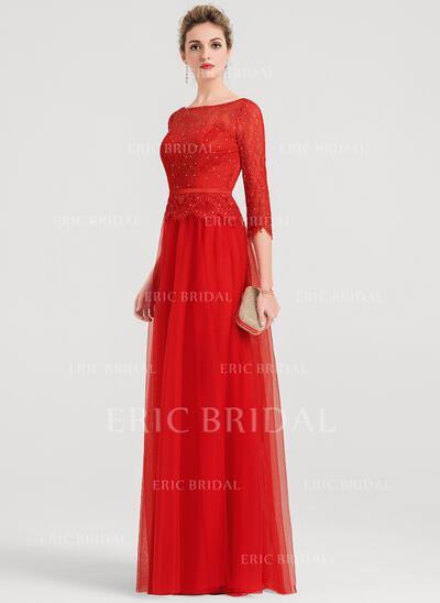 A-Line/Princess Scoop Neck Floor-Length Tulle Evening Dress With Beading (017147948)