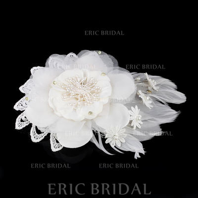 """Combs & Barrettes Wedding Imitation Pearls/Feather/Lace/Chiffon 7.48""""(Approx.19cm) 5.91""""(Approx.15cm) Headpieces (042159493)"""