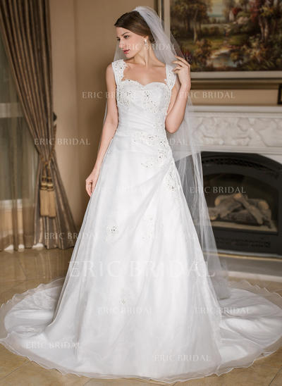 Cathedral Bridal Veils Tulle One-tier Drop Veil With Pencil Edge Wedding Veils (006151008)