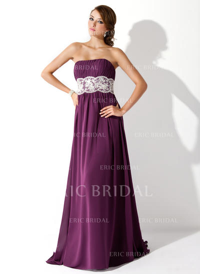 Empire Sweep Train Prom Dresses Strapless Chiffon Sleeveless (018005060)