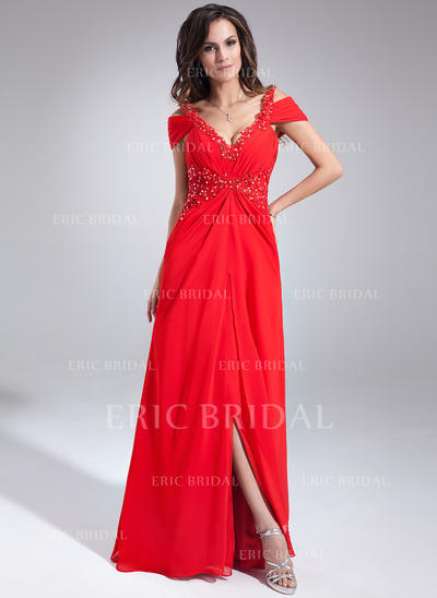 A-Line/Princess V-neck Floor-Length Evening Dresses With Ruffle Beading Appliques Lace (017020677)
