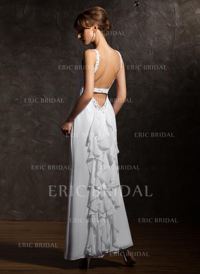 A-Line/Princess V-neck Ankle-Length Evening Dresses With Beading Cascading Ruffles (017020735)