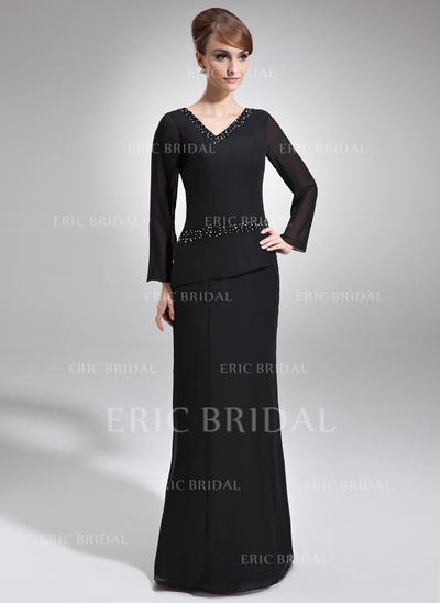 Sheath/Column Chiffon Long Sleeves V-neck Floor-Length Zipper Up Mother of the Bride Dresses (008005953)