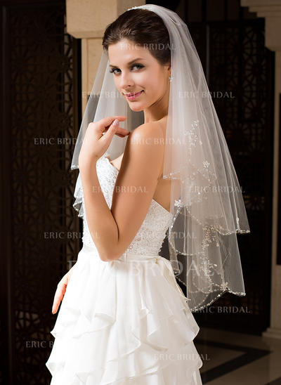 Elbow Bridal Veils Tulle Two-tier Classic With Beaded Edge Wedding Veils (006151186)