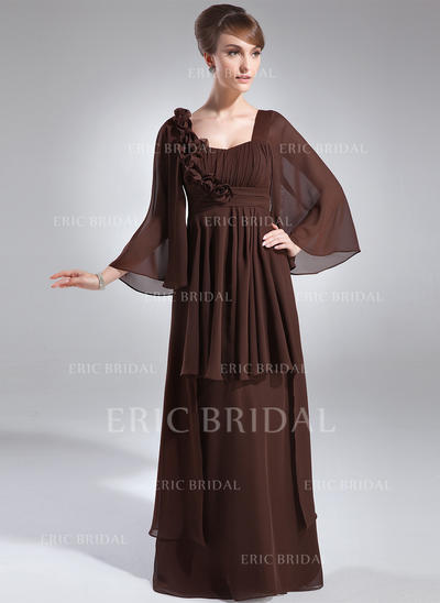 Empire Chiffon 3/4 Sleeves Scoop Neck Floor-Length Zipper Up Mother of the Bride Dresses (008211219)