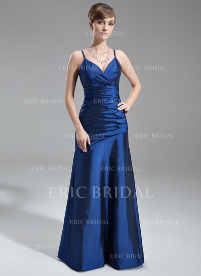 A-Line/Princess Taffeta Bridesmaid Dresses Ruffle V-neck Sleeveless Floor-Length (007001739)