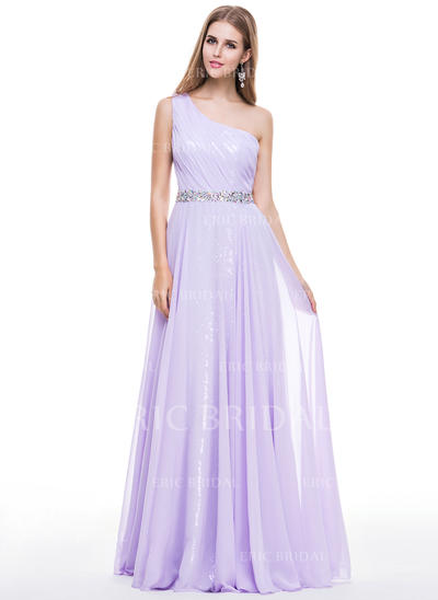 A-Line/Princess Chiffon Sequined Prom Dresses Ruffle Beading One-Shoulder Sleeveless Floor-Length (018056798)