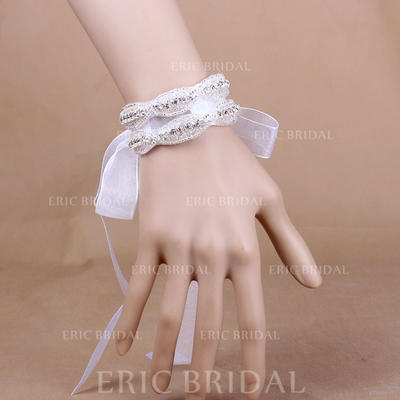 """Wrist Corsage Wedding/Party Crystal/Organza 1.18"""" (Approx.3cm) The color of embellishments are shown as picture/The length of wrist corsage is adjustable Wedding Flowers (123188770)"""