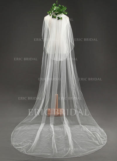 Cathedral Bridal Veils Tulle Two-tier Oval With Cut Edge Wedding Veils (006152169)