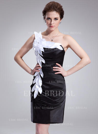 Sheath/Column One-Shoulder Knee-Length Charmeuse Cocktail Dresses With Ruffle Sash Flower(s) (016008869)