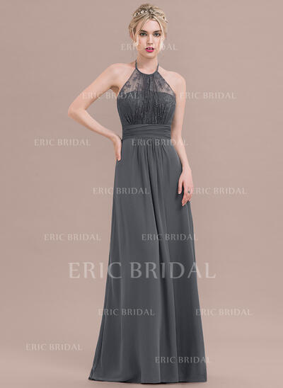 A-Line/Princess Halter Floor-Length Chiffon Lace Bridesmaid Dress With Ruffle Bow(s) (007116626)