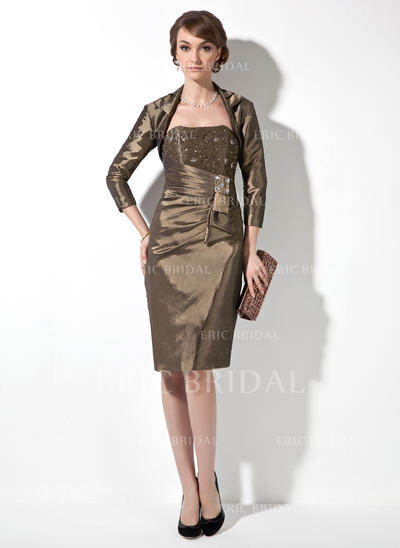 Sheath/Column Sweetheart Knee-Length Mother of the Bride Dresses With Beading Cascading Ruffles (008005946)