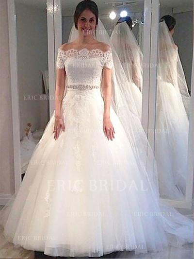 Delicate Off-The-Shoulder Ball-Gown Wedding Dresses Sweep Train Tulle Sleeveless (002210843)