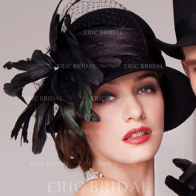 Wool/Net Yarn With Feather Bowler/Cloche Hat Glamourous Ladies' Hats (196193607)