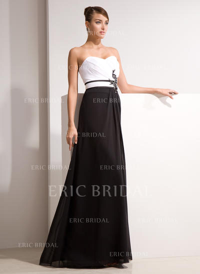 A-Line/Princess Sweetheart Floor-Length Evening Dresses With Ruffle Beading Appliques Lace (017014461)