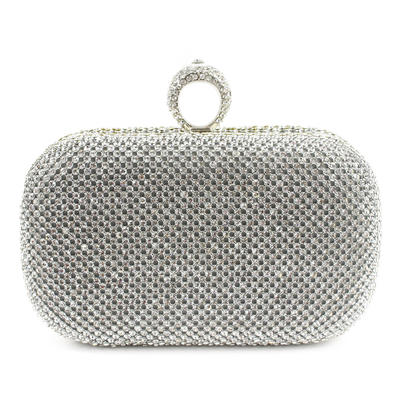 Clutches Ceremony & Party Satin Clip Closure Lovely Clutches & Evening Bags (012185262)