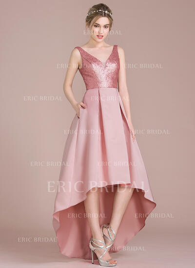 A-Line V-neck Asymmetrical Satin Sequined Bridesmaid Dress (007104722)