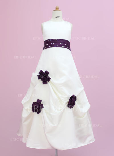 Delicate Scoop Neck A-Line/Princess Flower Girl Dresses Floor-length Satin Sleeveless (010002149)