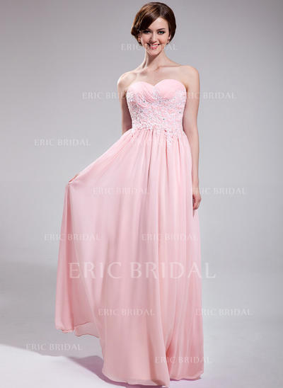 A-Line/Princess Sweetheart Floor-Length Prom Dresses With Ruffle Beading Appliques Lace Sequins (018025623)