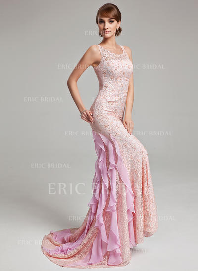 Trumpet/Mermaid Scoop Neck Sweep Train Evening Dresses With Beading Cascading Ruffles (017017526)