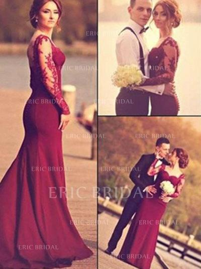 Trumpet/Mermaid Sweetheart Floor-Length Prom Dresses With Appliques Lace (018210250)