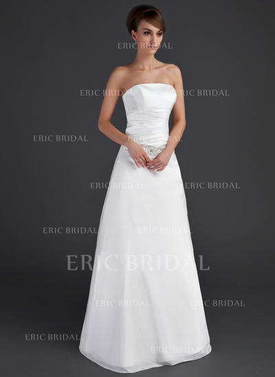 A-Line/Princess Taffeta Sleeveless Strapless Floor-Length Wedding Dresses (002001666)