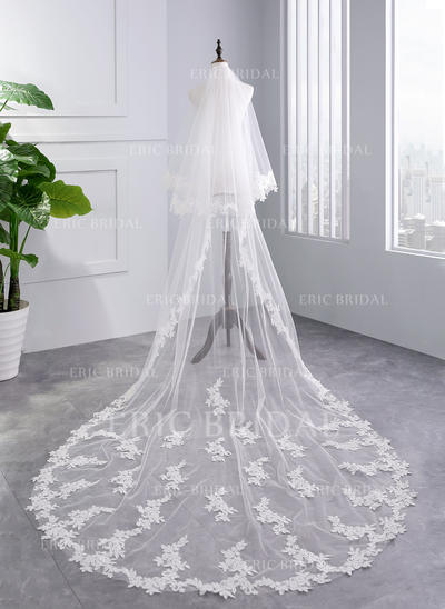 Chapel Bridal Veils Tulle Two-tier With Lace Applique Edge With Lace Wedding Veils (006152505)