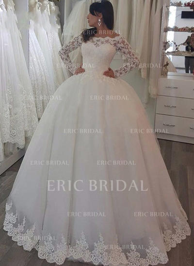Luxurious Off-The-Shoulder Ball-Gown Wedding Dresses Sweep Train Tulle Long Sleeves (002148092)