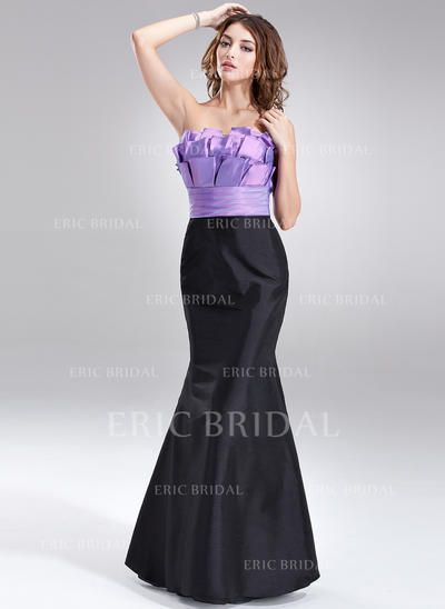 Trumpet/Mermaid Taffeta Bridesmaid Dresses Ruffle Scalloped Neck Sleeveless Floor-Length (007004280)
