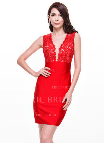 Sheath/Column V-neck Short/Mini Lace Jersey Cocktail Dress With Beading Sequins (016065508)