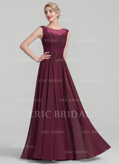 A-Line/Princess Scoop Neck Floor-Length Chiffon Lace Evening Dress With Beading Sequins (017130699)