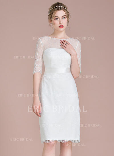 Sheath/Column Scoop Neck Knee-Length Lace Bridesmaid Dress With Bow(s) (007104727)