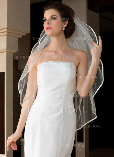 Fingertip Bridal Veils Tulle Two-tier Oval With Ribbon Edge Wedding Veils (006151478)