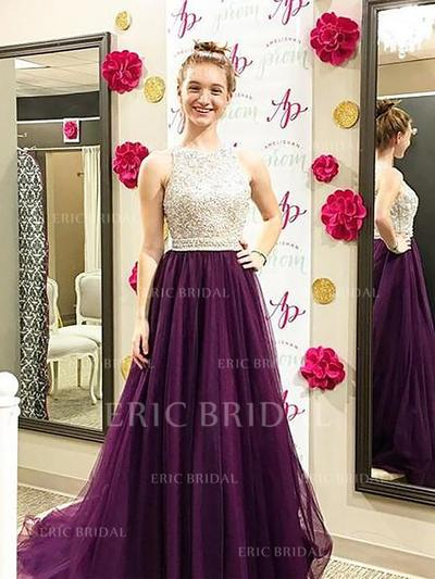 A-Line/Princess Tulle Prom Dresses Beading Scoop Neck Sleeveless Sweep Train (018148480)