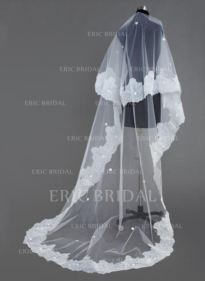 Cathedral Bridal Veils Tulle One-tier Oval/Drop Veil With Lace Applique Edge Wedding Veils (006151048)