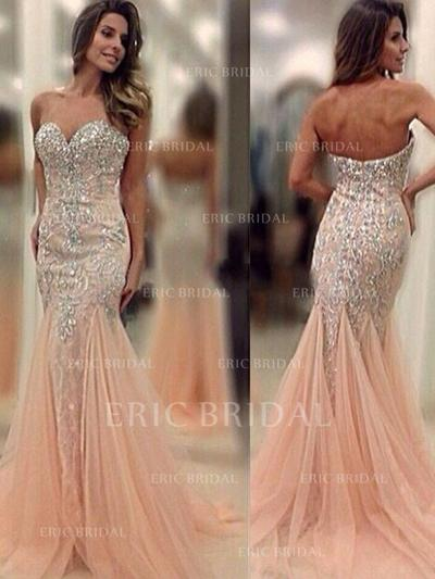 Trumpet/Mermaid Sweetheart Sweep Train Prom Dresses With Beading (018210345)