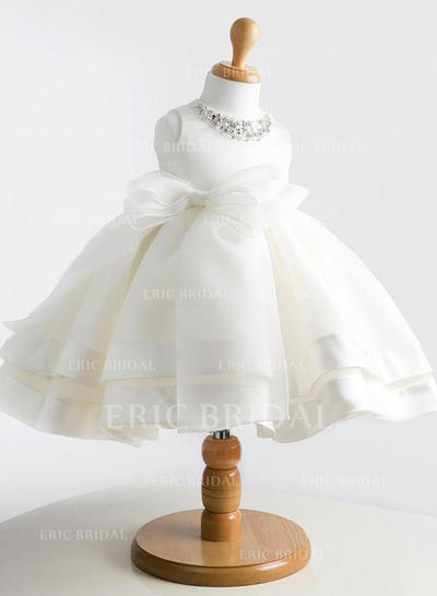 Ball Gown Scoop Neck Knee-length With Beading/Bow(s) Satin/Tulle Flower Girl Dresses (010211770)