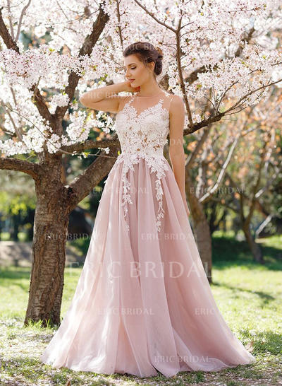 A-Line/Princess Tulle Prom Dresses Appliques Lace Sleeveless Floor-Length (018148406)