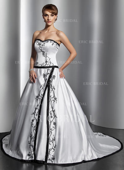 Ball-Gown Sweetheart Chapel Train Wedding Dresses (002196888)