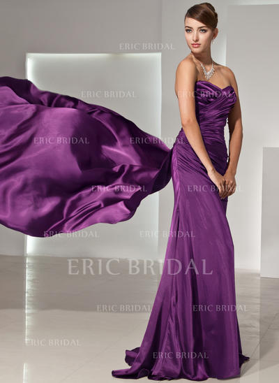 A-Line/Princess Sweetheart Watteau Train Evening Dresses With Ruffle (017014444)