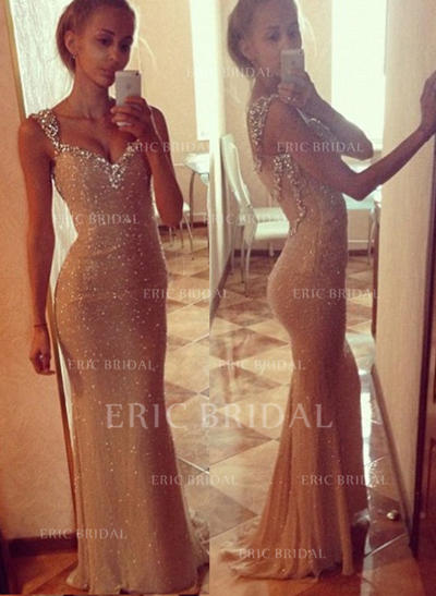 Trumpet/Mermaid Sweetheart Sweep Train Prom Dresses With Beading (018146584)